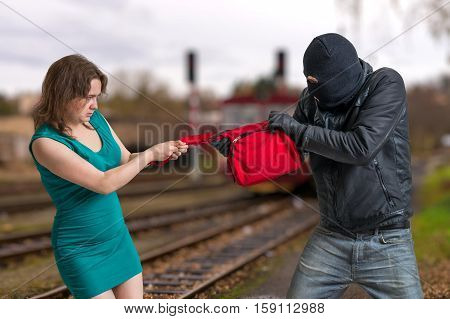 Thief Is Fighting With Woman And Stealing Handbag.