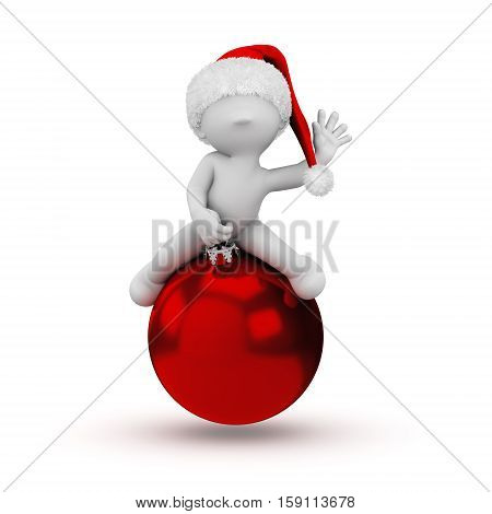 3d human on a christmas ball with a santa hat