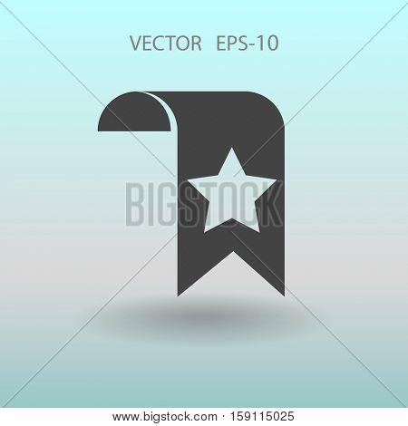 Flat long shadow Favorite bookmark icon, vector illustration