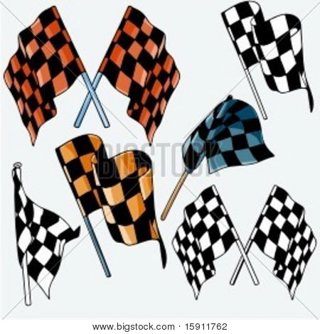 A set of 6 vector illustrations of racing flags.