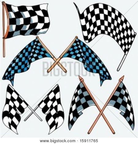 A set of 5 vector illustrations of racing flags.