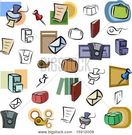 A set of vector icons of office objects in color, and black and white renderings.