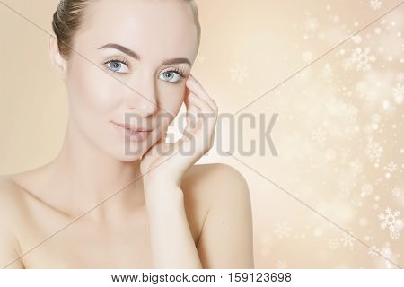 skin revitalizing concept illustration with snowflakes on background