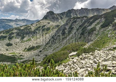 Amazing Landscape of Rocky hills on the path to Banderitsa pass,  Pirin Mountain, Bulgaria
