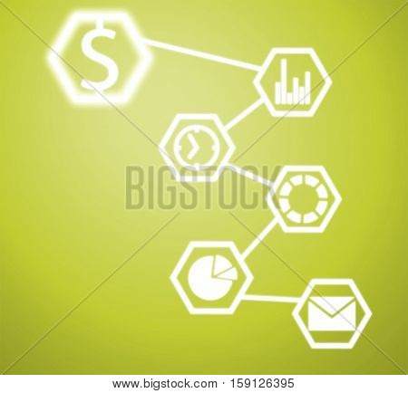 Background image with application icons on color background
