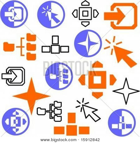 A set of 21 navigation icons. Check my portfolio for many more images of this series.