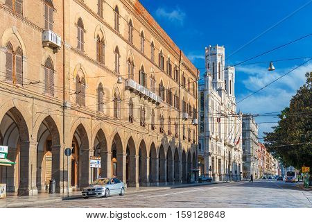 Cagliari, Sardinia - January 2016, Italy: City Hall building and Vivanet Palace on the seafront of Sardinia's capital, famous Cagliari landmarks