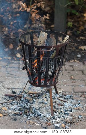 outdoor fire pit with burning wood and ash on the ground
