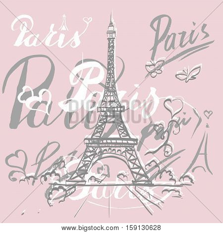 tour Eiffel romantic vector illustration heart frame