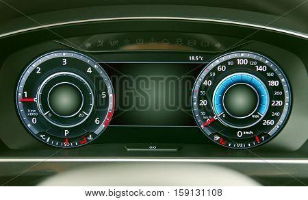 illuminated instrument panel with the passenger car