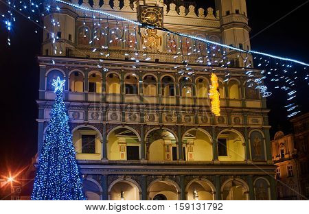 Christmas decorations in front of the town hall in Poznan