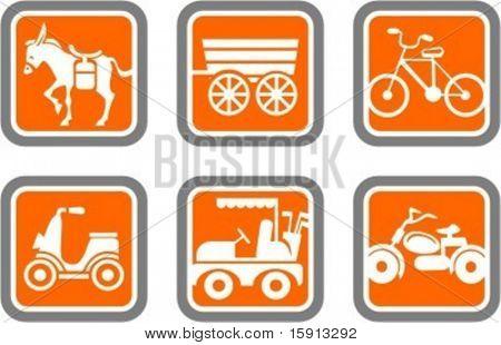 ein Satz von 6 Vektor-Icons von Transport-Objekten.