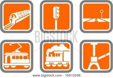 A set of 6 vector icons of transportation objects.