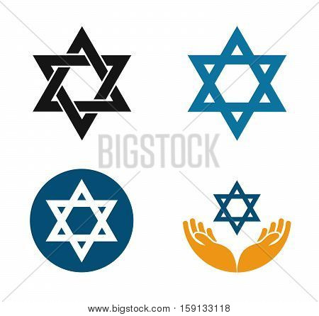 Star of David vector logo. Judaism or Jewish set icons isolated on white background