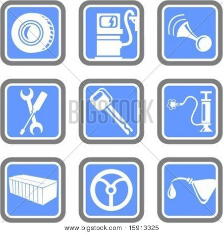A set of 9 vector icons of transportation objects.