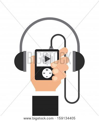hand holding a music player with headphones over white background. music and technology design. vector illustration