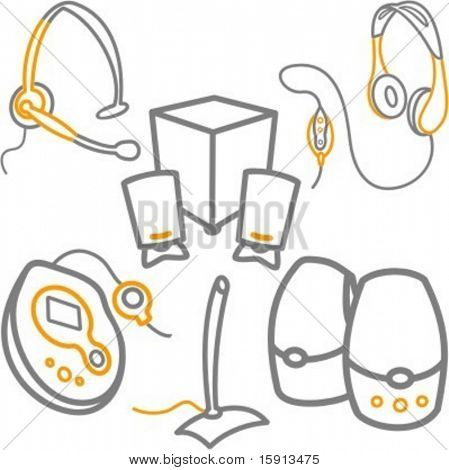 A set of 6 vector icons of computer headsets, CD or MP3 player, microphone and speakers.
