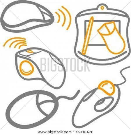 A set of 5 vector icons of computer wireless and cable mouses, and a tablet.
