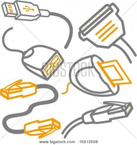 A set of 6 vector icons of computer cables and a card reader.