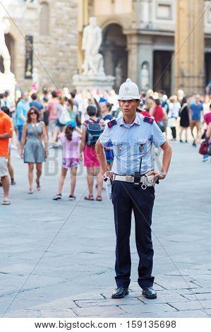 Policeman On The Piazza Della Signoria In Florence