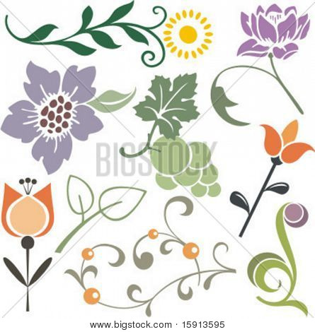 A set of 9 vector floral design elements.