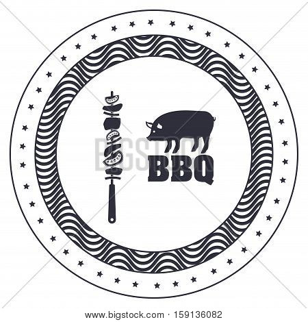 Meat skewer and pork icon. Bbq menu steak house food meal restaurant and barbecue theme. Isolated design. Vector illustration