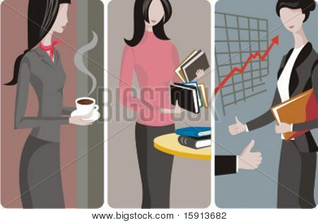 A set of 3 businesswomen vector illustrations. 1) A businesswoman or a student girl with a cup of coffee. 2) A businesswoman\student girl holding books. 3) A businesswoman at a business meeting.