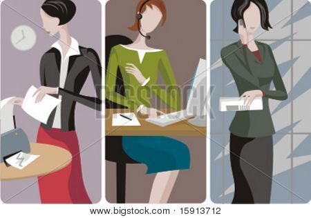 A set of 3 businesswomen vector illustrations. 1) A secretary printing. 2) A call centre operator on a computer. 3) A businesswoman  speaking on a mobile phone, and holding documents.