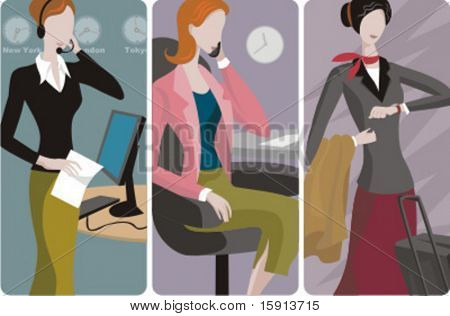 A set of 3 businesswomen vector illustrations. 1) A businesswoman with headsets. 2) A businesswoman speaking on a mobile phone. 3) A businesswoman with a suitcase, waiting for a taxi or a flight.