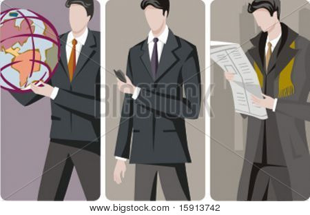 A set of 3 businessmen vector illustrations. 1) International development. 2) A businessman with a mobile phone. 3) A businessman reading a newspaper.