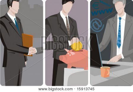 A set of 3 businessmen vector illustrations. 1) A businessman making an agreement with a partner. 2) A businessman saving money. 3) A businessman sending an e-mail.
