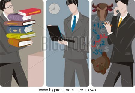 A set of 3 businessmen vector illustrations. 1) A businessman carring books Also can be used for a student. 2) A businessman working on a laptop 3) A stock market agent speaking on a mobile phone