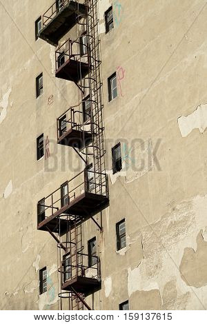 Fire escape on an old warehouse in the port of Magdeburg