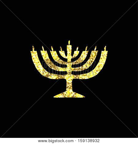 Hanukkah candleholder golden silhouette. Gold. Jewish religious holiday of Hanukkah. Vector illustration on a black background.