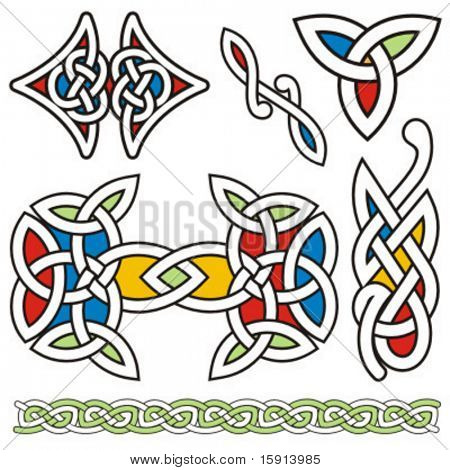 A set of 6 celtic ornamental designs.