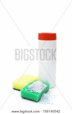 means for cleaning surfaces sponges to clean and plastic packaging