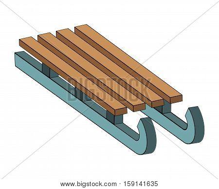 Sled, Wooden Sledge Vector Symbol Icon Design.