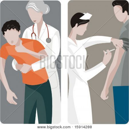 A set of 2 medical illustrations. 1) Doctor helps a suffocating boy. 2) Nurse giving an injection.