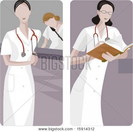 A set of 2 medical illustrations. 1) Emergency call. 2) Medic analysing a results.