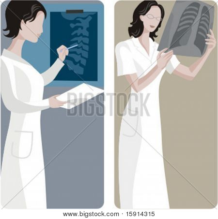 A set of 2 medical illustrations. 1) Doctor analysing a x-ray. 2) Doctor looking a x-ray.