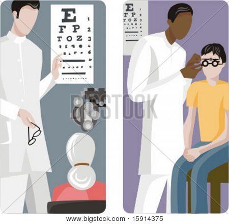A set of 2 medical illustrations. Eye examination.