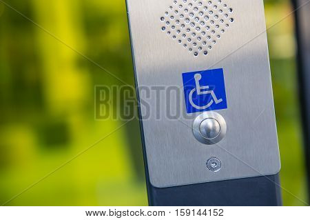 close-up view on call button for the disabled personnes