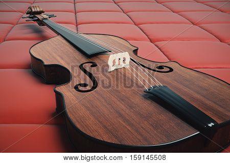 Violin On Red Background Side
