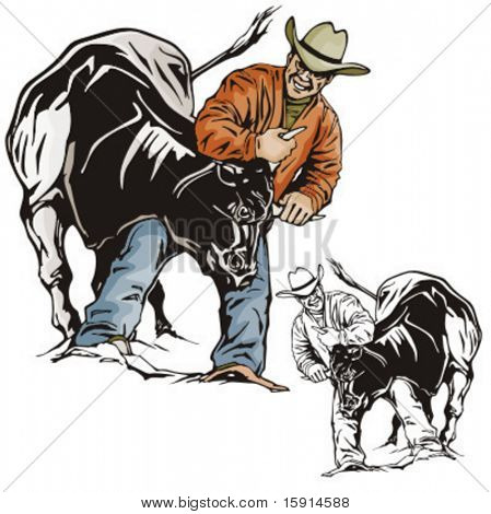 Illustration of a rodeo bullfighting.