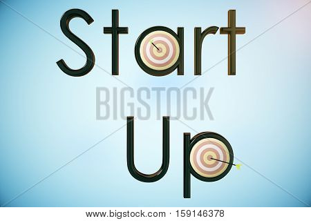 Abstract 'Start up' text with dartboards and arrows on blue background. 3D Rendering. Startup and aiming concept