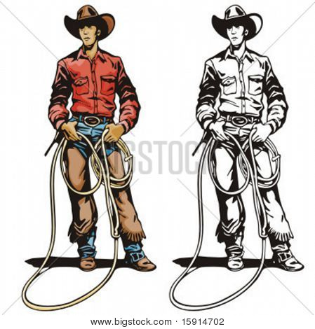 Illustration of a cowboy holding a lasso.