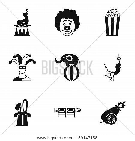 Circus performance icons set. Simple illustration of 9 circus performance vector icons for web