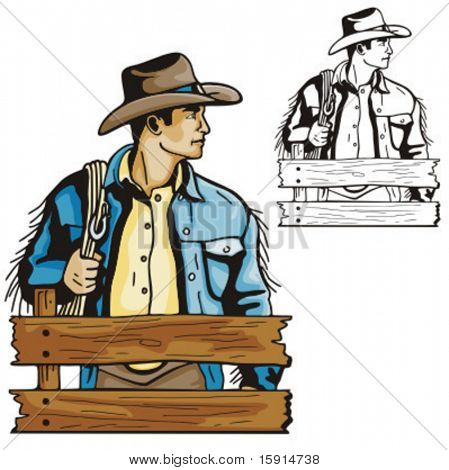 Illustration of a cowboy holding a rope at the stable.