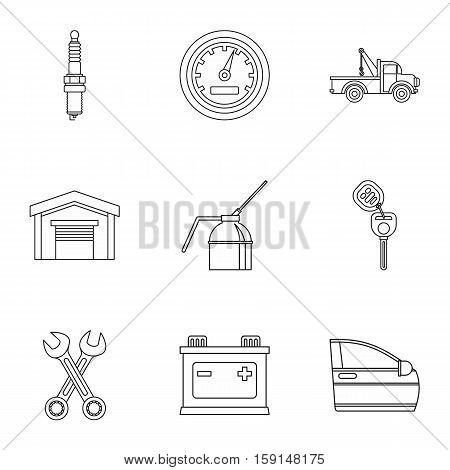 Repair machine icons set. Outline illustration of 9 repair machine vector icons for web