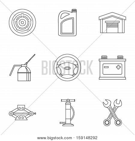 Car repairs icons set. Outline illustration of 9 car repairs vector icons for web